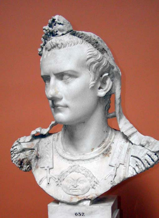 Reconstructed bust of the Emperor Gaius, known as Caligula.