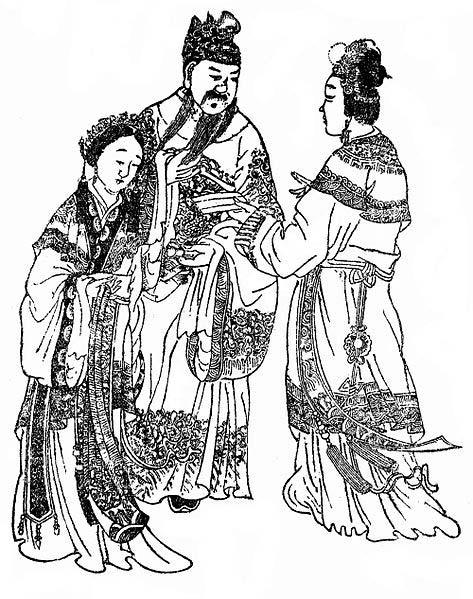 Emperor Xian of Han with Consort Dǒng (left) and Empress Fú Shòu (right). (Public Domain)
