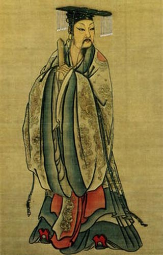Detail of hanging scroll of Emperor Yu.
