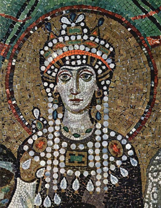 Empress Theodora represented in mosaic at San Vitale, Ravenna. (Public Domain)