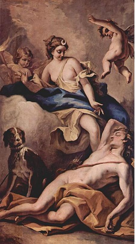 Endymion and Selene, by Sebastiano Ricci (1713).