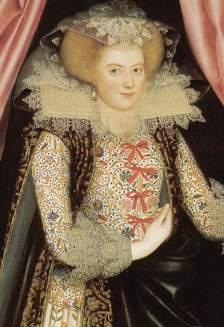 English woman wearing a reticella lace collar and cuffs tinted with yellow starch, c. 1614-1618