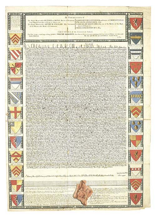 Engraved facsimile of the original text of the Magna Carta, surrounded by a series of 25 coats of hand-colored arms of the Barons, panel at foot containing notes and a representation (hand-colored) of the remains of King John's Great Seal, all panels surrounded by oak leaf and acorn borders. (Public Domain)
