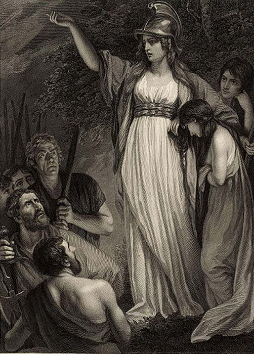 Engraving by William Sharp published in 1793, based on Boadicea Haranguing the Britons (called Boudicca, or Boadicea) by John Opie (died 1807). (Public Domain)
