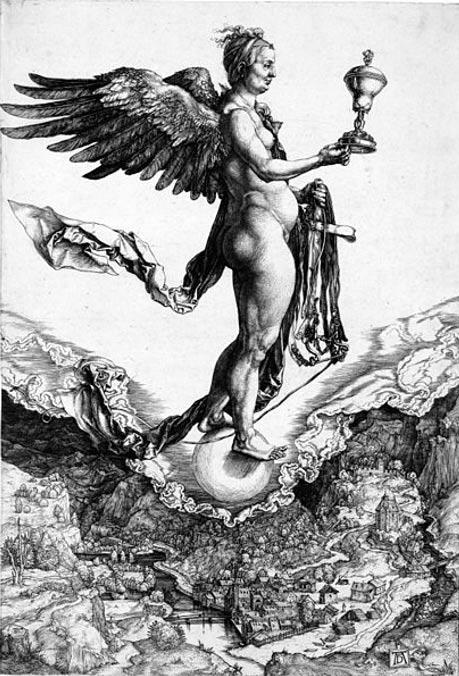 ngraving of Nemesis or Good Fortune. (1502) By Albrecht Dürer.