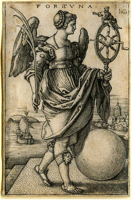 Engraving of Tyche as 'Fortuna' with the Wheel of Fate and other symbols.