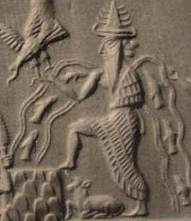 Detail of Enki from the Adda Seal, an ancient Akkadian cylinder seal dating to circa 2300 BC.