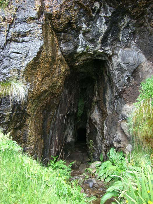 Entrance to the cave on Eigg where the Macdonalds clan bones were found in October. Authorities intend to rebury the bones after researchers are done with them.
