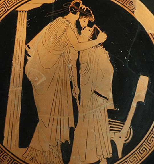 Erastes (lover) and eromenos (beloved) kissing. Detail from the tondo of a red-figure Attic cup, ca. 480 BC. (Public Domain)