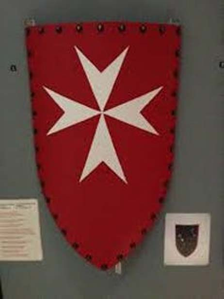 Escutcheon of the Knights Hospitaller of Rhodes (1305-1523) in Athens War Museum. Dimitris Kamaras