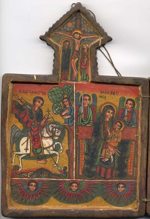 This Ethiopian icon shows St. George, the Crucifixion, and the Virgin Mary.
