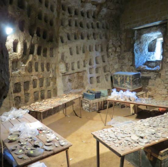 Etruscan Pyramid columbarium, used as a working lab, and filled with artifacts
