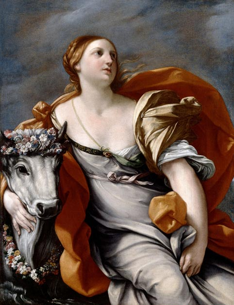 """Europa and the Bull,"" by Noel Desensfans after Guido Reni. The bull was Zeus. Some stories say he raped her, others say she took him and then sacrificed him."