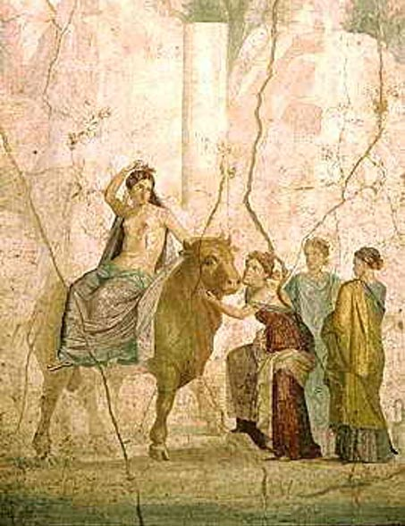 Europa riding a bull, depicted in a fresco at Pompeii (Wikimedia Commons)