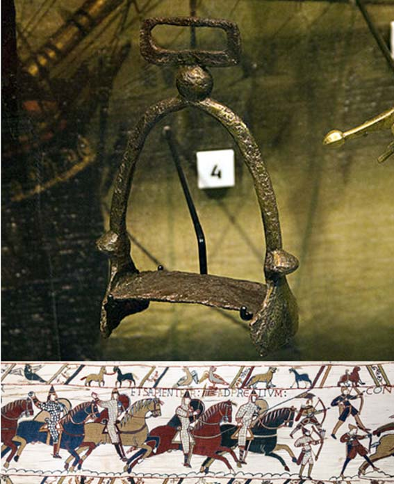 European, 10th century stirrup (CC BY SA 3.0) and Bayeux Tapestry - Scene 51 (extract)- The Battle of Hastings: Norman knights and archers.
