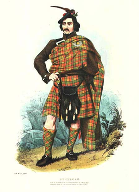 Every Scottish Clan is identified by their distinct tartan. Pictured here is the clothing of the Clan Buchanan (public domain)