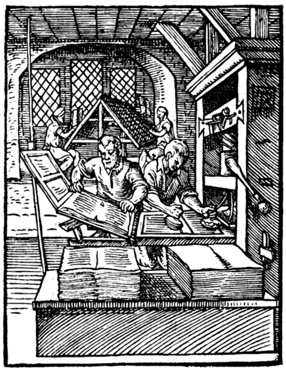 "Example of a 1568 printers - At the left in the foreground, a ""puller"" removes a printed sheet from the press. The ""beater"" to his right is inking the forme. In the background, compositors are setting type."