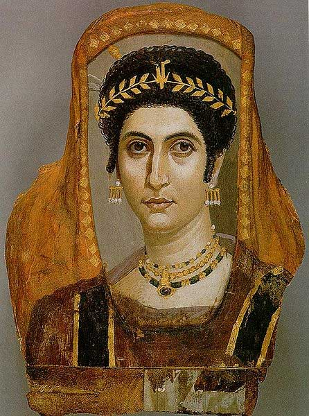 Example of a Fayum mummy portrait showing an elite woman.