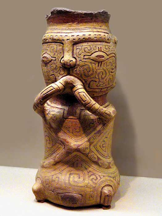 Example of a Marajoara burial urn, American Museum of Natural History.