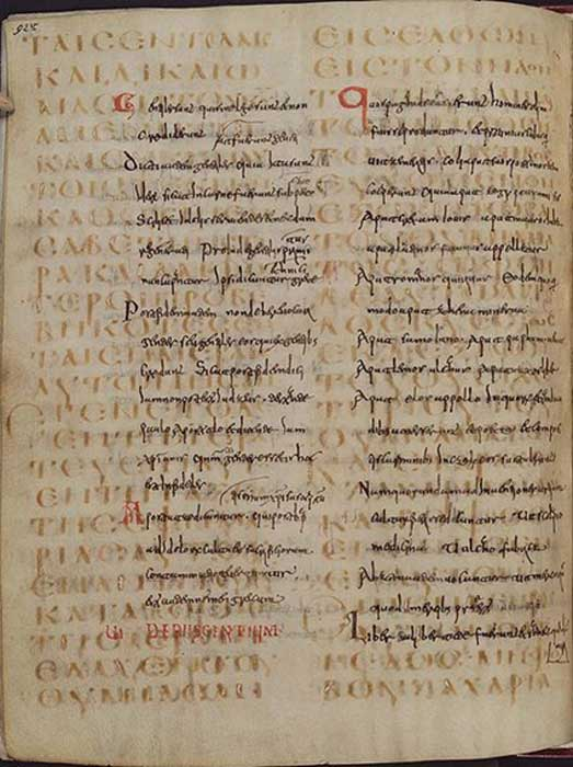 "Example of a palimpsest. The lower text is from the 6th century (Codex Guelferbytanus 64 Weissenburgensis, folio 92 verso), it contains the text of Luke 1:6-13; the upper text is from the 13th century - Isidore of Seville's ""Origines"" 8.10.2-8.11.4."