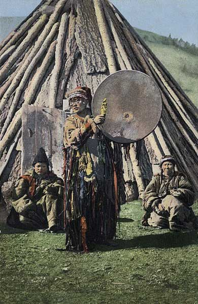 Example of an Altai shaman with a drum