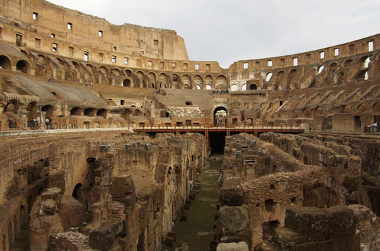 Excavated foundations inside the Colosseum