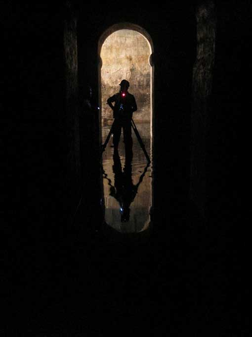 Exploring the tunnels under Valletta, Malta.
