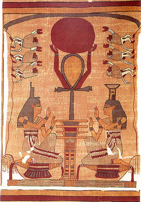 Facsimile of a vignette from the Book of the Dead of Ani. The sun disk of the god Ra is raised into the sky by an ankh-sign (signifying life)