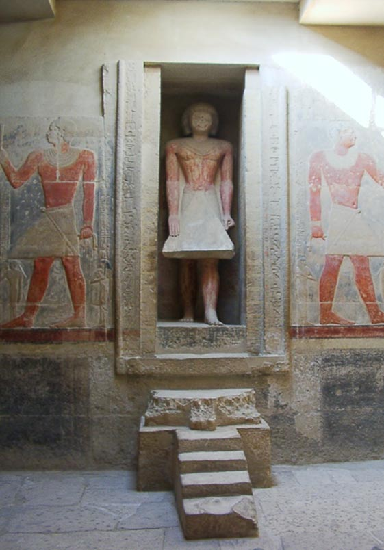 False door with life-sized representation of the deceased stepping through it. Tomb of Mereruka