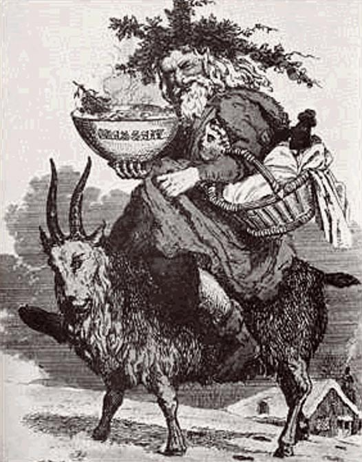 Folk tale depiction of Father Christmas riding on a goat.