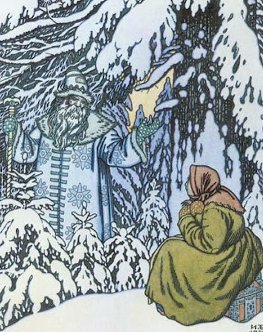 """Father Frost and the step-daughter."" (1932) By Ivan Bilibin."