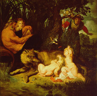 Faustulus (to the right of picture) discovers Romulus and Remus