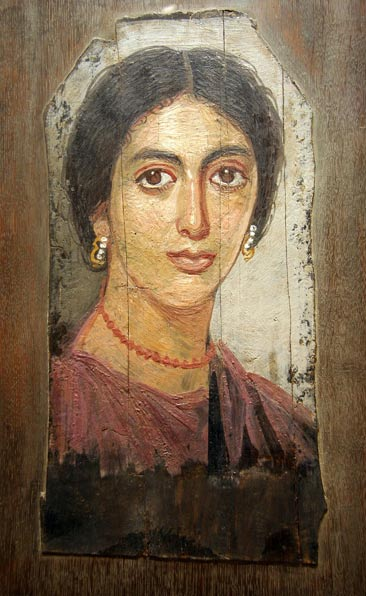 Fayum mummy portraits were painted using the encaustic wax technique. Portrait of a woman from Al-Faiyum, Egypt