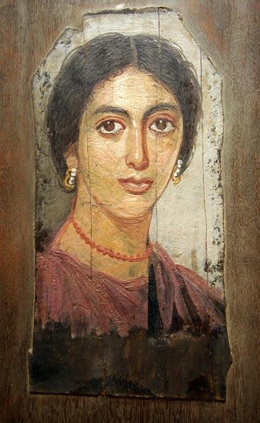 Fayum mummy portraits were painted using the encaustic wax technique. Portrait of a woman from Al-Faiyum, Egypt
