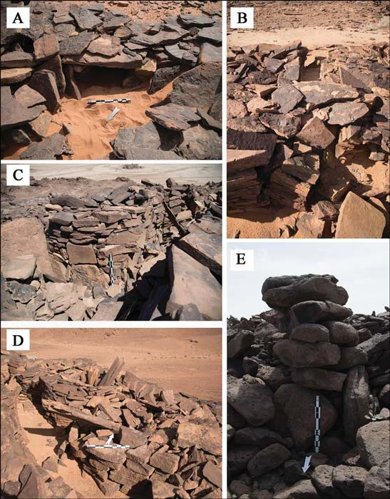 Features of mustatil: A) internal niche located in the head of a mustatil; B) a blocked entranceway in the base of a mustatil; C–D) associated features of a mustatil: cells and orthostats; E) stone pillar identified on the Harrat Khaybar lava field.