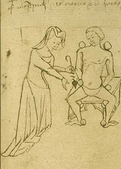 Female physician makes an examination. From 15th century manuscript. (Public Domain)