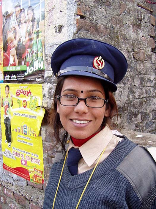 Female security guard in Narayangarh, District Chitwan, Nepal wearing a black bindi.