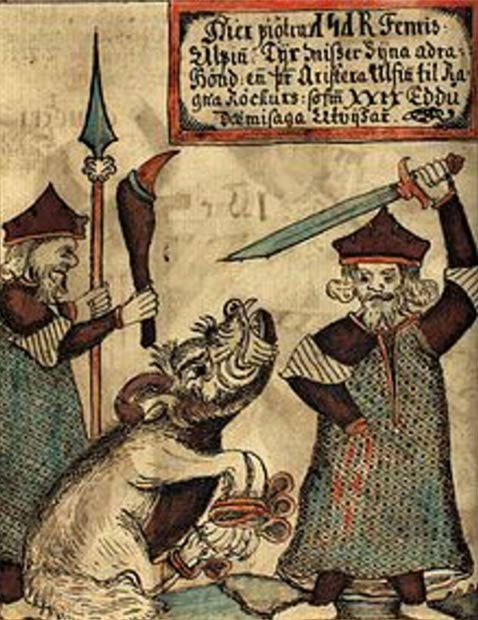 Fenrir bites off the hand of a sword-wielding Tyr in an illustration on an 18th-century Icelandic manuscript