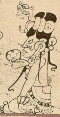 Figure 3. Maiden Ix Chel, Young Moon Goddess. Dresden Codex, Forstemann version, with permission of FAMSI.