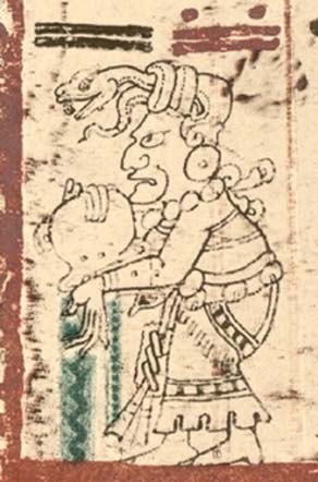 Figure 4. Old Moon Goddess, Beneficent Chak Chel. Dresden Codex, Forstemann version, with permission of FAMSI