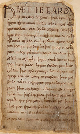 First page of Beowulf contained in the damaged Nowell Codex