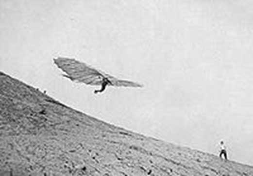 "Otto Lilienthal the ""Flying Man"" of Germany making his first unassisted solo flight in 1891."