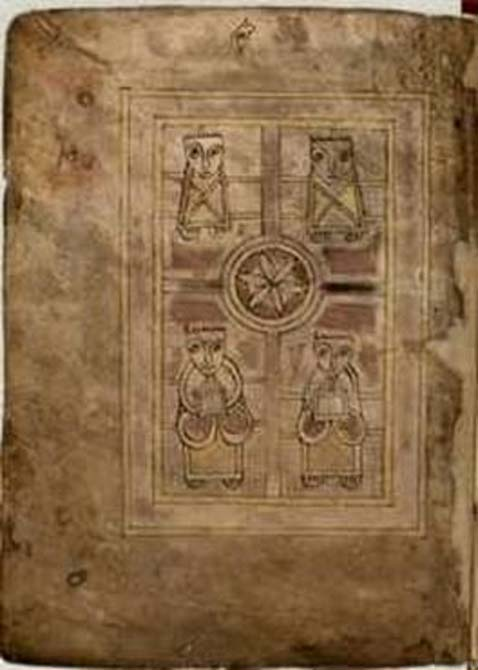 Folio 1 verso from the Book of Deer (Cambridge University Library, MS. II.6.32), showing the four evangelists.