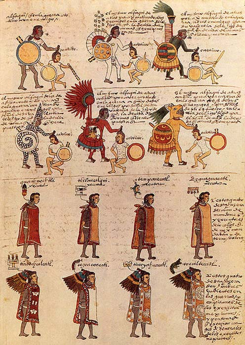 Folio 65r of the Codex Mendoza, a mid-16th century Aztec codex.
