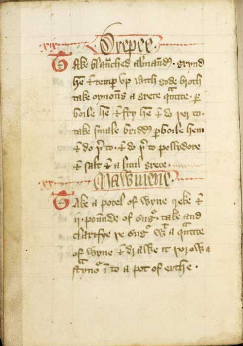 Page from Forme of Cury