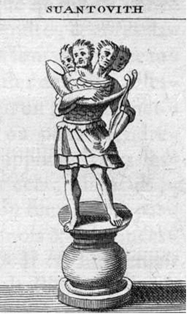 Illustration of Svetovid, Four-Headed Slavic deity with horn and bow, 1722.