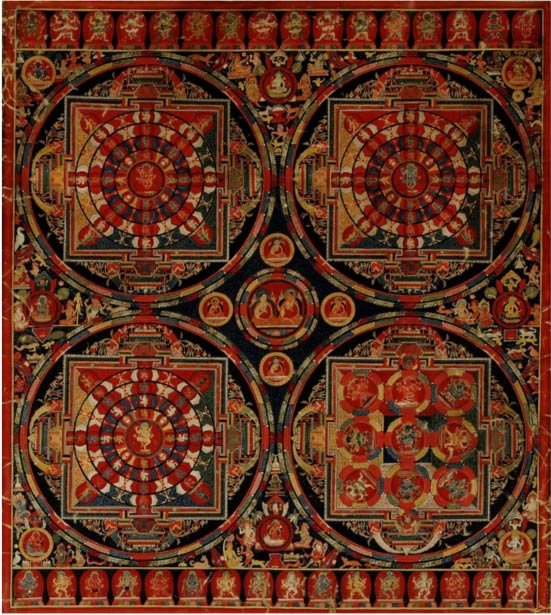 Four Mandala Vajravali Thangka (c. 1430), Tibet, opaque watercolor on cloth. Image courtesy  of the Freer and Sackler Galleries, Smithsonian