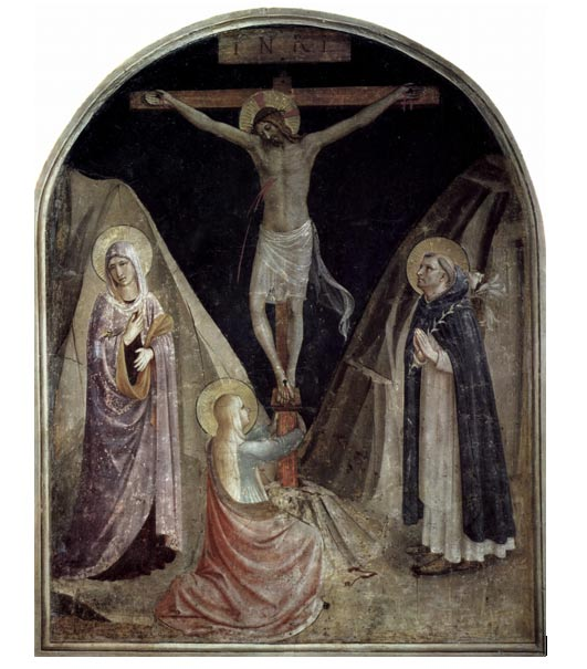 In Fra Angelico's painting, Mary the Mother of Jesus and Mary Magdalene are the foot of the cross, per the New Testament. (Wikimedia Commons)