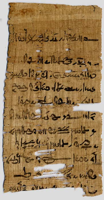 Fragment from the Tebtunis temple library in the Papyrus Carlsberg Collection. ( University of Copenhagen )