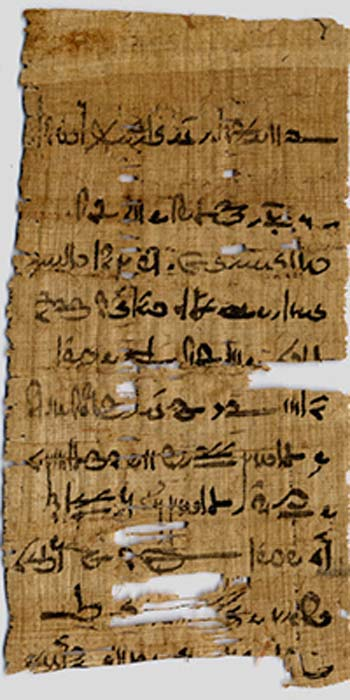 Fragment from the Tebtunis temple library in the Papyrus Carlsberg Collection.